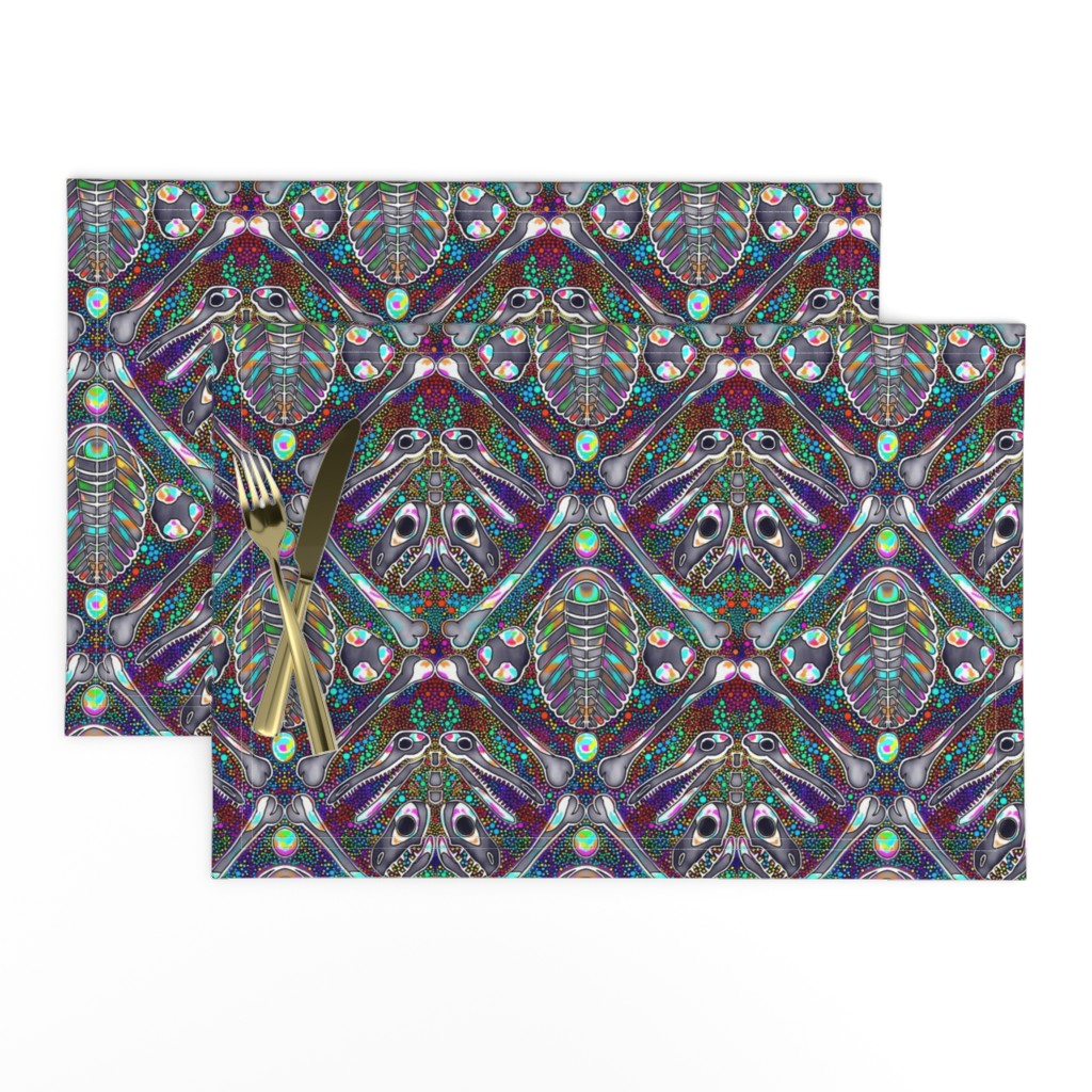Lamona Cloth Placemats featuring opalized fossils by beesocks