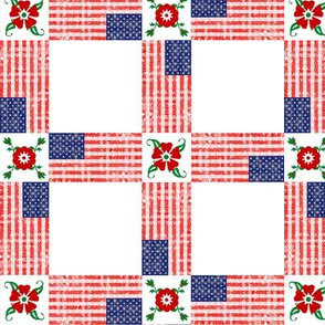 USA Flags and Flowers