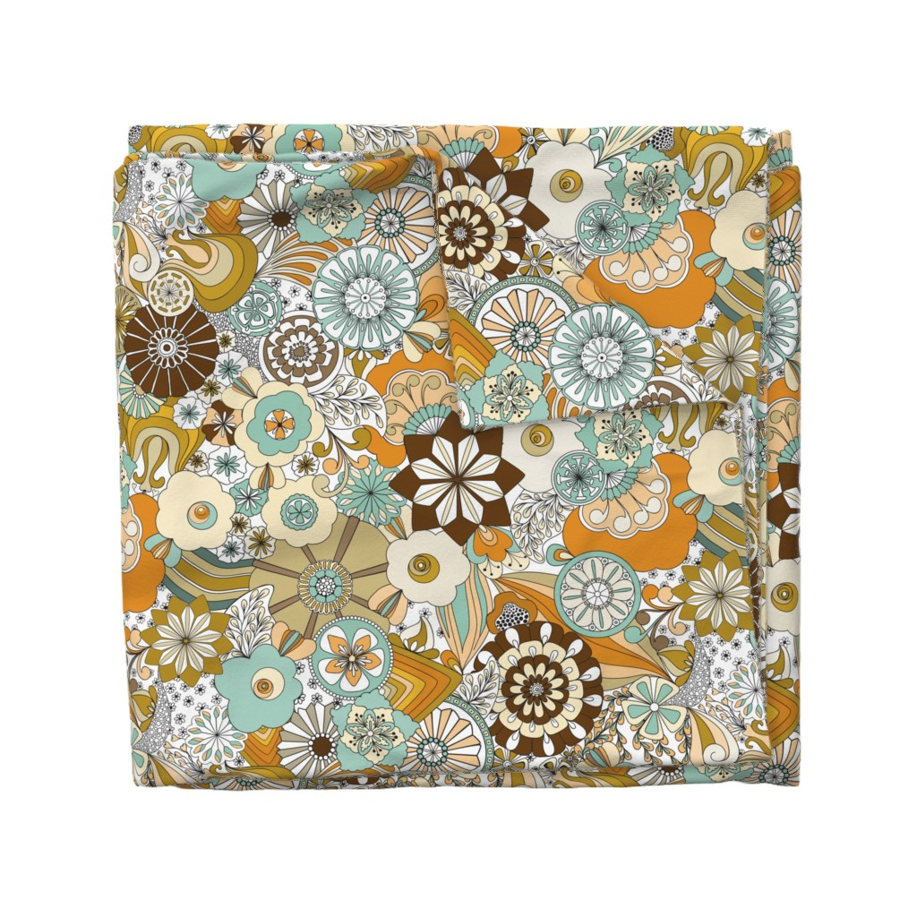 Wyandotte Duvet Cover featuring 70s Flowers - Orange by paula_ohreen_designs
