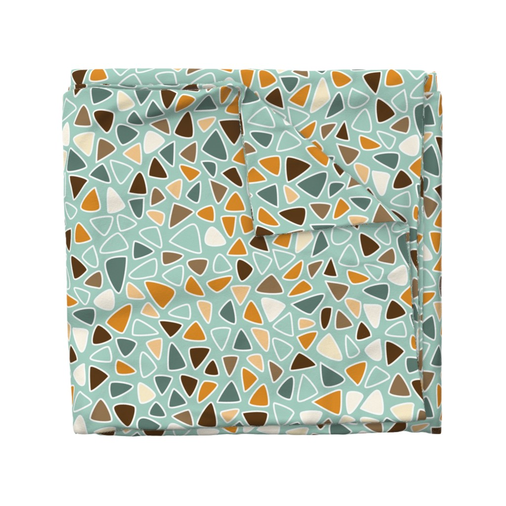 Wyandotte Duvet Cover featuring 70s Flowers - Orange - Triangles Coordinate-02 by paula_ohreen_designs