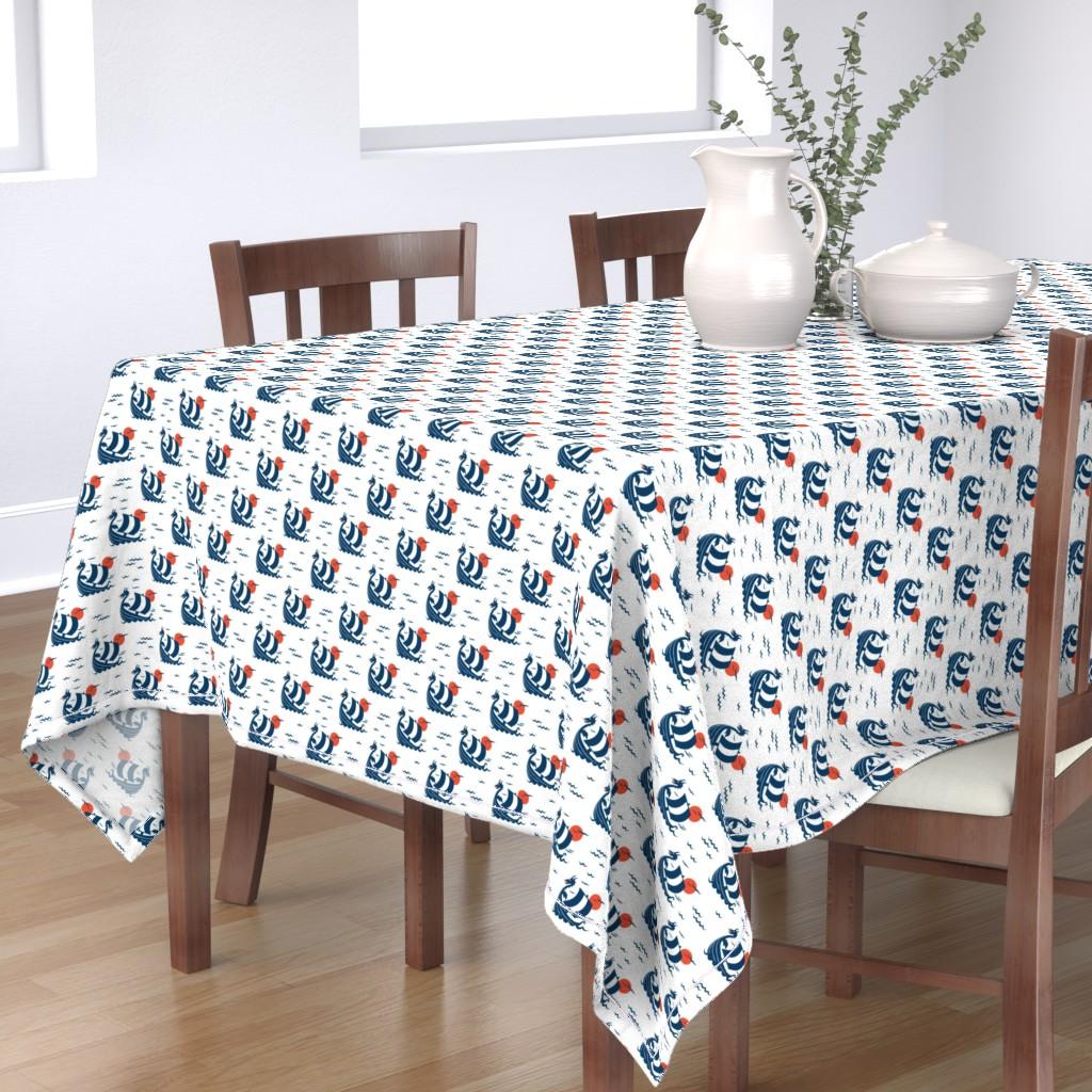 Bantam Rectangular Tablecloth featuring VIKING NAVY small by blue_platypus_fabrics