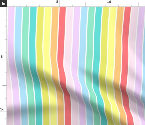 Fabric By The Yard Colorful Pastel Rainbow Stripes Large