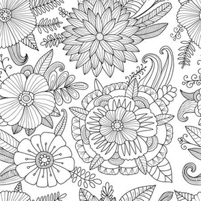 Floral Garden. Black and white colors