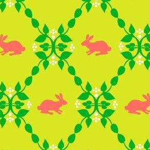 Modern Whimsy Bunnies Citron Rose