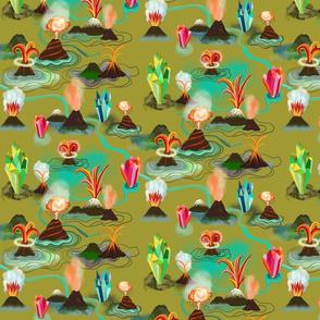 Volcanos and crystals
