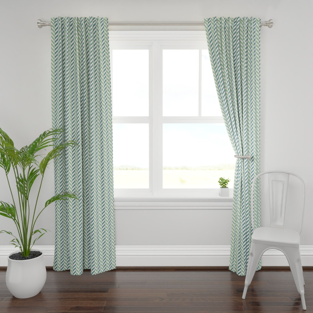 Plymouth Curtain Panel featuring dahlia garden picnic blue by colorofmagic