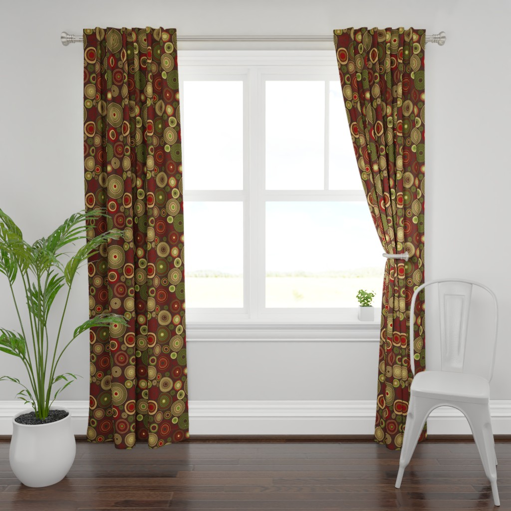 Plymouth Curtain Panel featuring dahlia garden picnic grey by colorofmagic