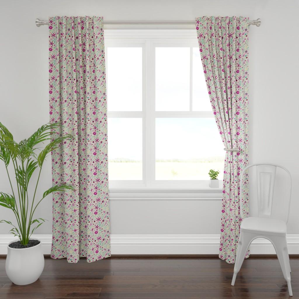 Plymouth Curtain Panel featuring dahlia garden picnic rosé by colorofmagic
