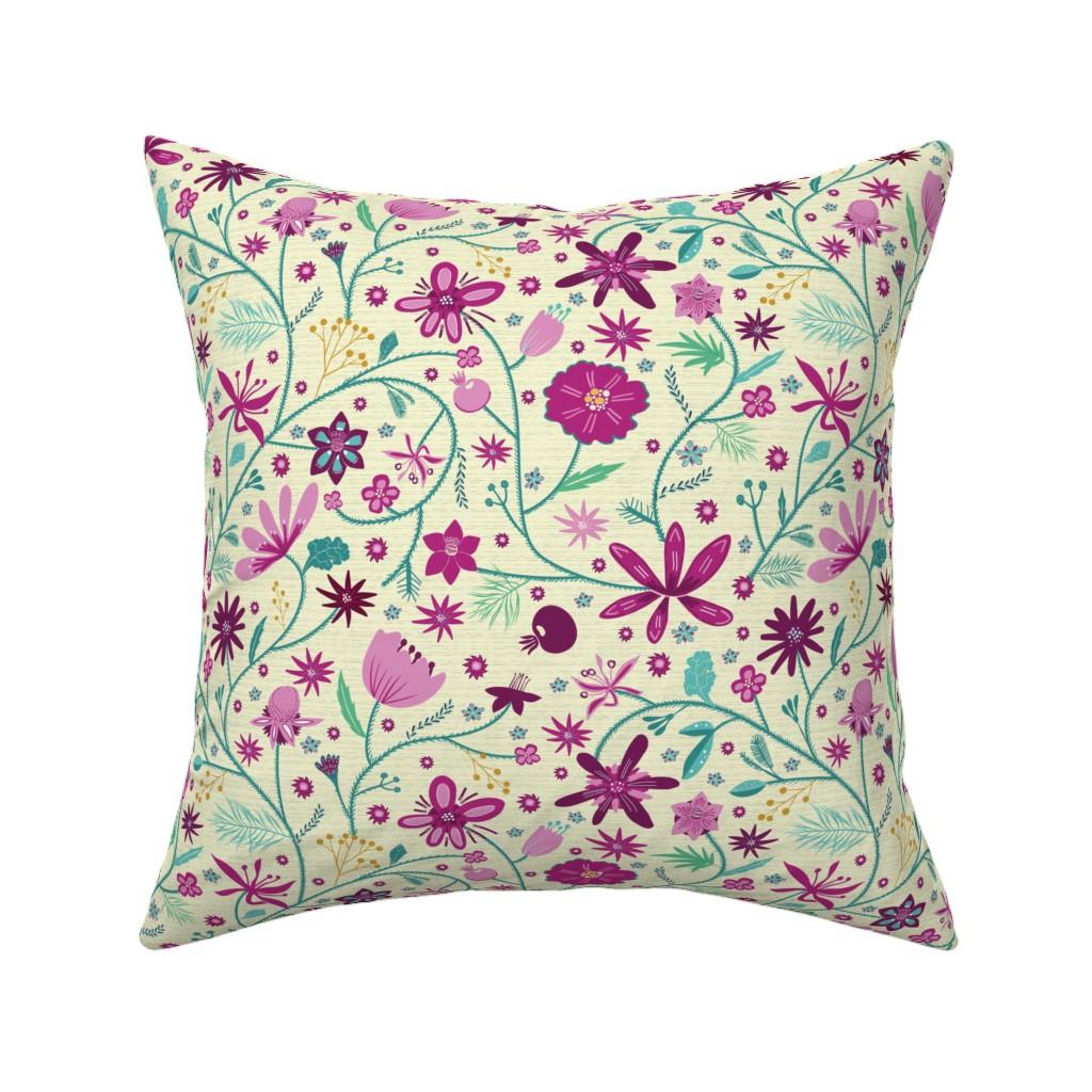 Catalan Throw Pillow featuring dahlia garden picnic rosé by colorofmagic