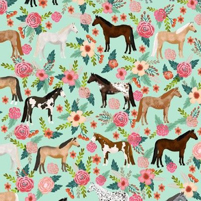 horse multi coat floral horses fabric mint