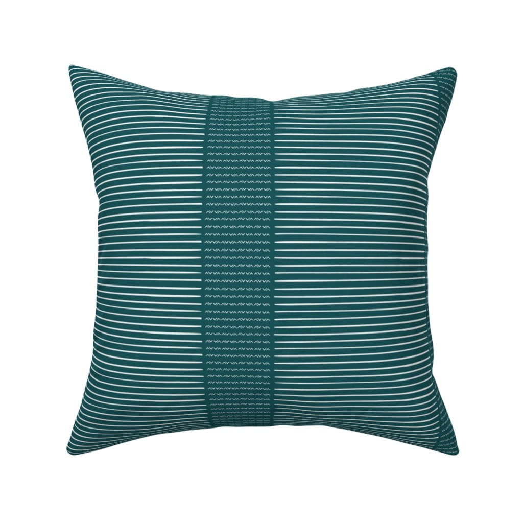 Catalan Throw Pillow featuring Tribal Stripe-teal by arboreal
