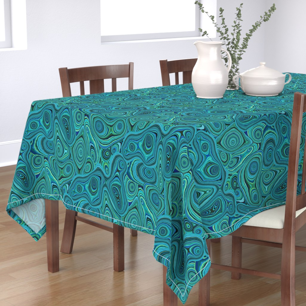 Bantam Rectangular Tablecloth featuring Dyed Agate-Ocean Blues by groovity