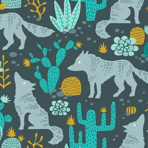 Wolf in the cactus desert turquoise/mustard dark