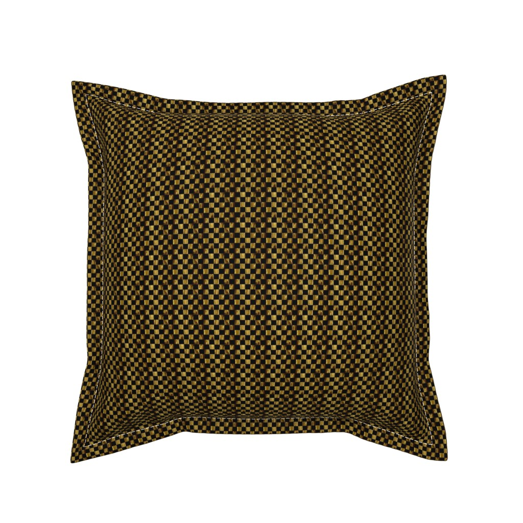 Serama Throw Pillow featuring LG - Tiny Precious Metal Gold and Black checkerboard by maryyx