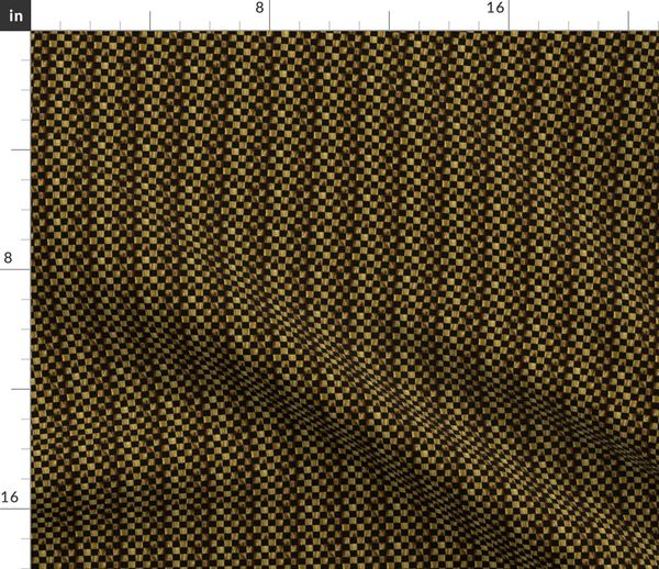 Fabric by the Yard LG - Tiny Precious Metal Gold and Black checkerboard