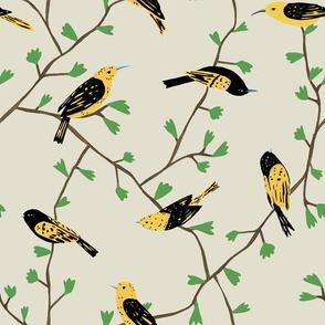 Yellow Birds in Vines (natural)