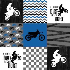 Motocross//A little dirt never hurt - Wholecloth Cheater Quilt - Blue