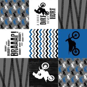 Motocross//a little dirt never hurt - Wholecloth Cheater Quilt - blue - rotated