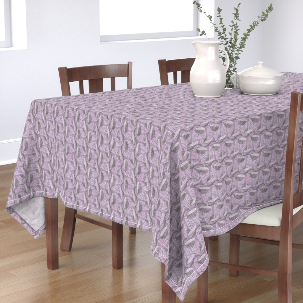 Bantam Rectangular Tablecloth featuring Modern Leaf Energy, Light Violet by palifino