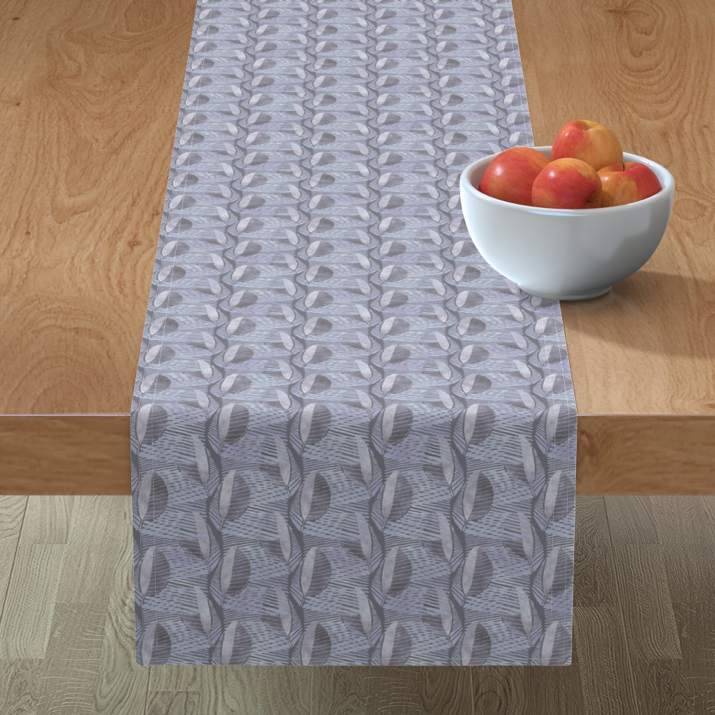 Minorca Table Runner featuring Modern Leaf Energy, Frenchgray by palifino