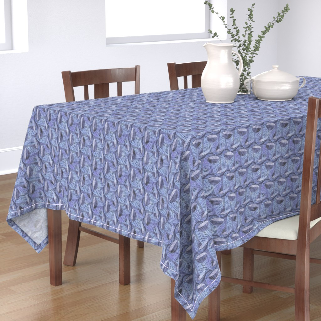Bantam Rectangular Tablecloth featuring Modern Leaf Energy, Bluegray by palifino