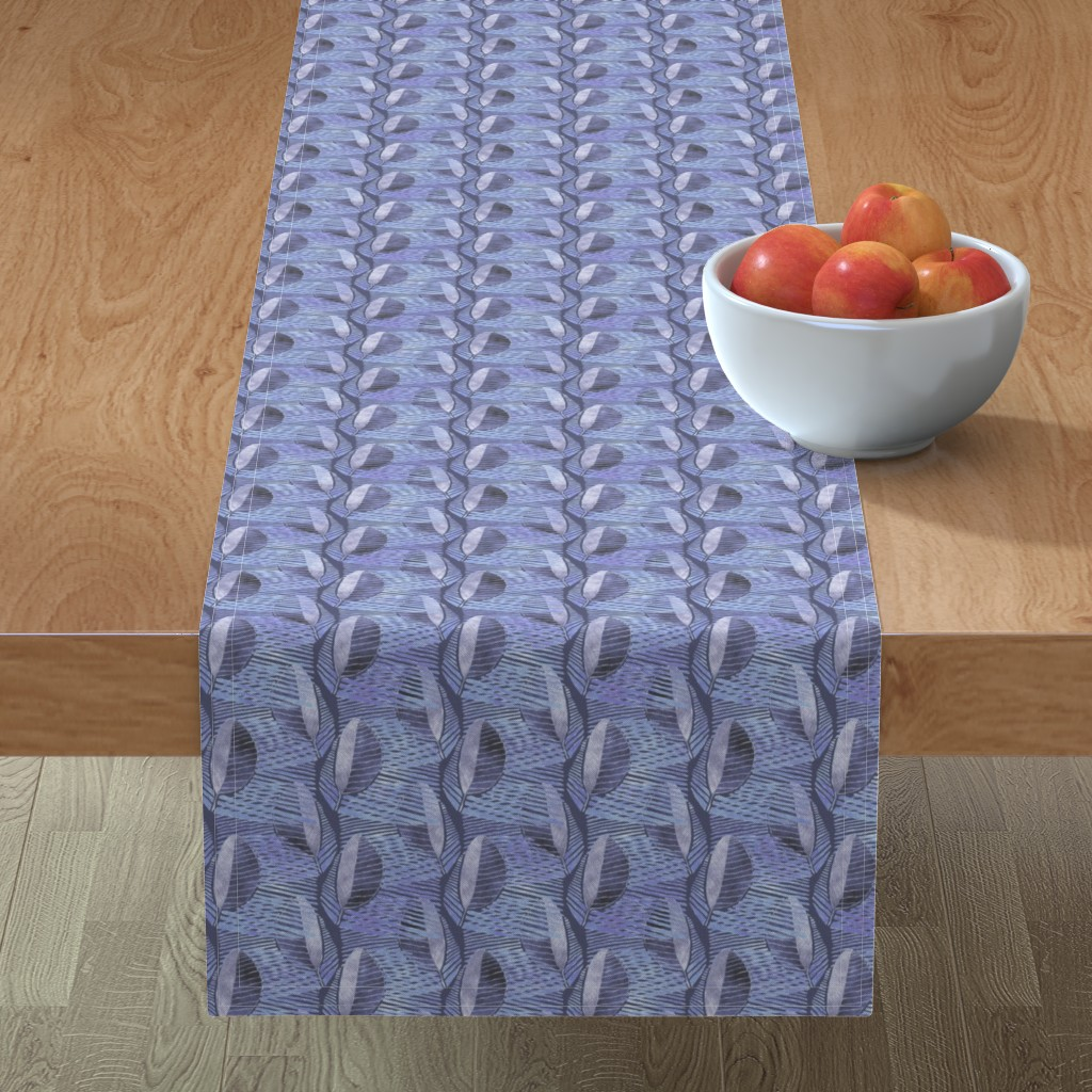 Minorca Table Runner featuring Modern Leaf Energy, Bluegray by palifino
