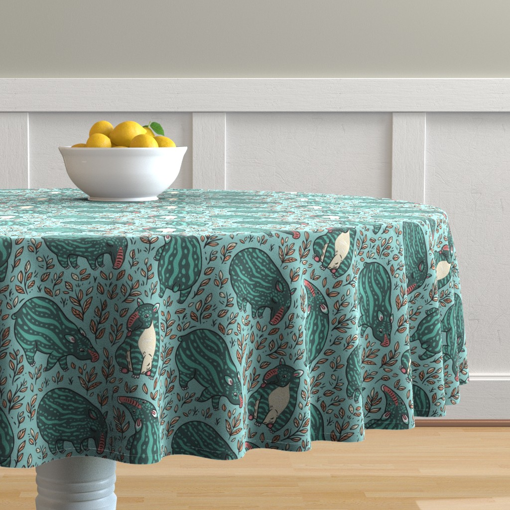 Malay Round Tablecloth featuring young tapirs by penguinhouse