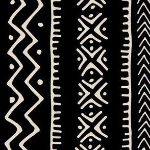 Mud Cloth II // Bone on Black // Large