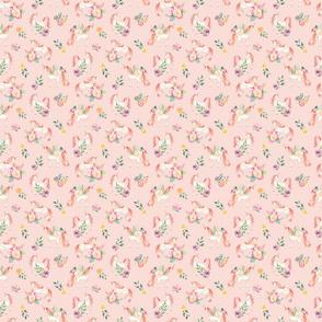 Super Small - SMALL Botanical Unicorns Dusty Rose / Watercolor Unicorns / Spring Flowers / Botanical / Nursery