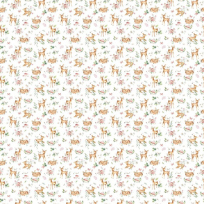Super Small Small- Baby Deer with flower- white / Woodland Deer / Forest Animals/ Nursery Fabric