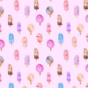 Watercolor ice cream pattern on pink || sweet design for nursery, baby