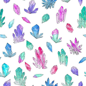 Watercolor Crystals - White by Andrea Lauren