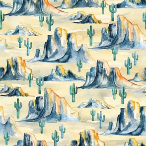 Sunset Desert Mountains with Cacti in Watercolor - large