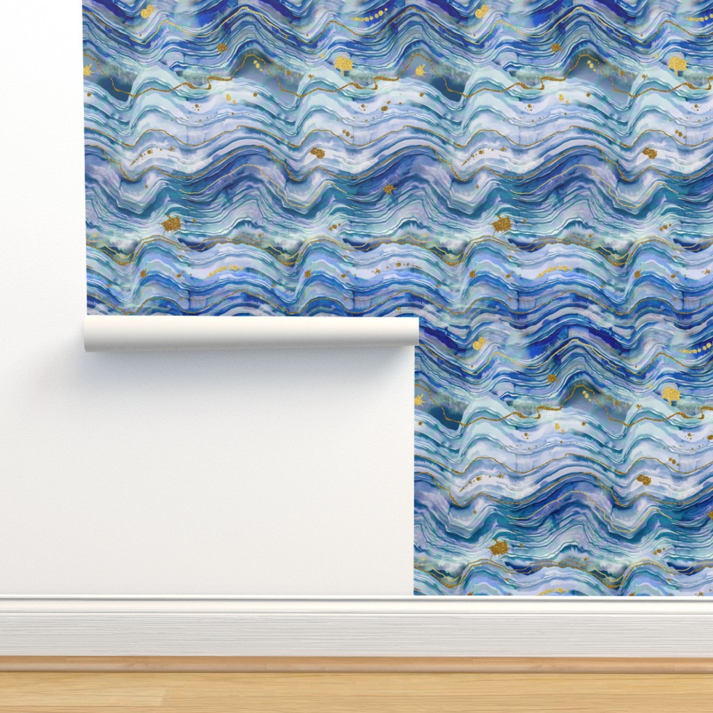 Isobar Durable Wallpaper featuring blue and green geode by karismithdesigns