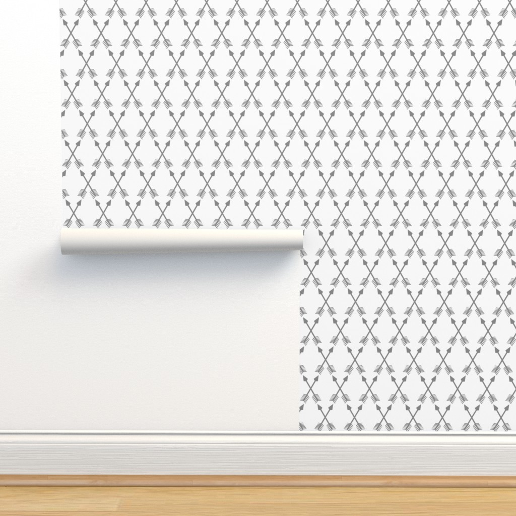 Isobar Durable Wallpaper featuring Crossed Arrows in Grey by themadcraftduckie
