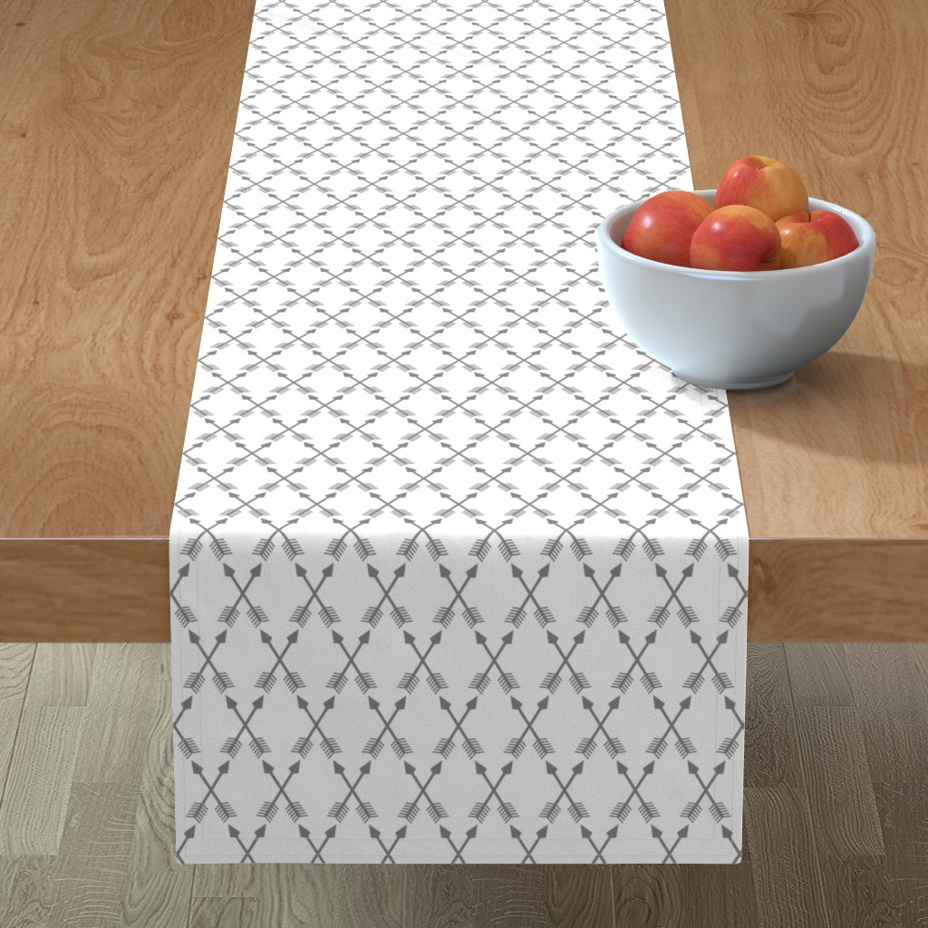Minorca Table Runner featuring Crossed Arrows in Grey by themadcraftduckie