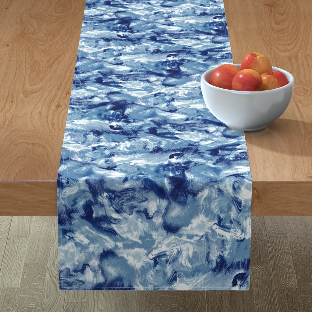 Minorca Table Runner featuring Marble Mist Blue White by mjmstudio
