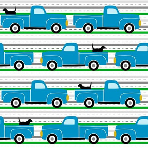 Pooches and Pickups Trucks Blue