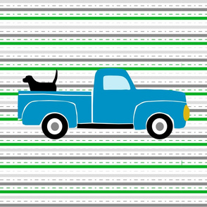 Pooches and Pickups Fat Quarter Blue