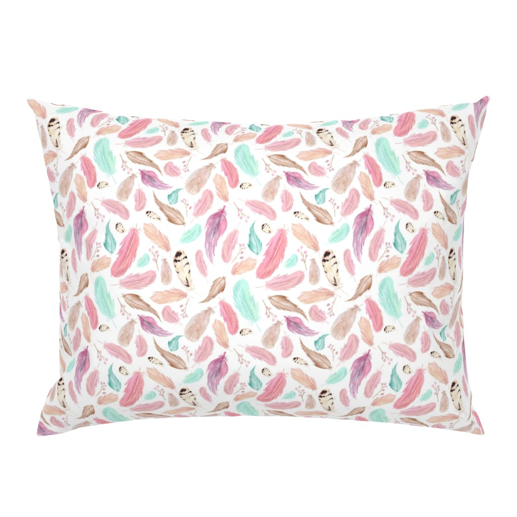 Campine Pillow Sham featuring Feathers in Pink Mint Aqua - Coordinate for Omaha Dream Catcher Collection Baby Girls Nursery GingerLous by gingerlous