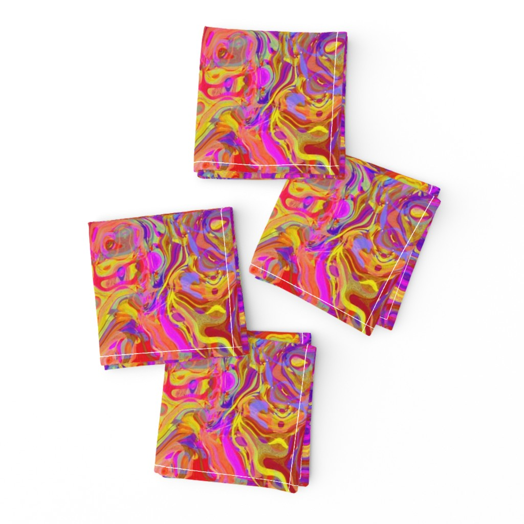 Frizzle Cocktail Napkins featuring Organic Swirls, Reds and Pinks by palifino