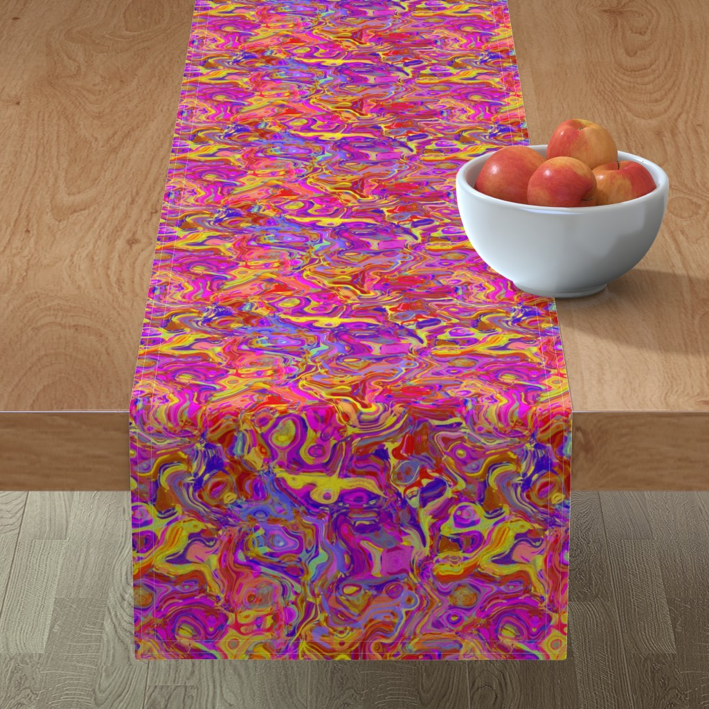 Minorca Table Runner featuring Organic Swirls, Reds and Pinks by palifino