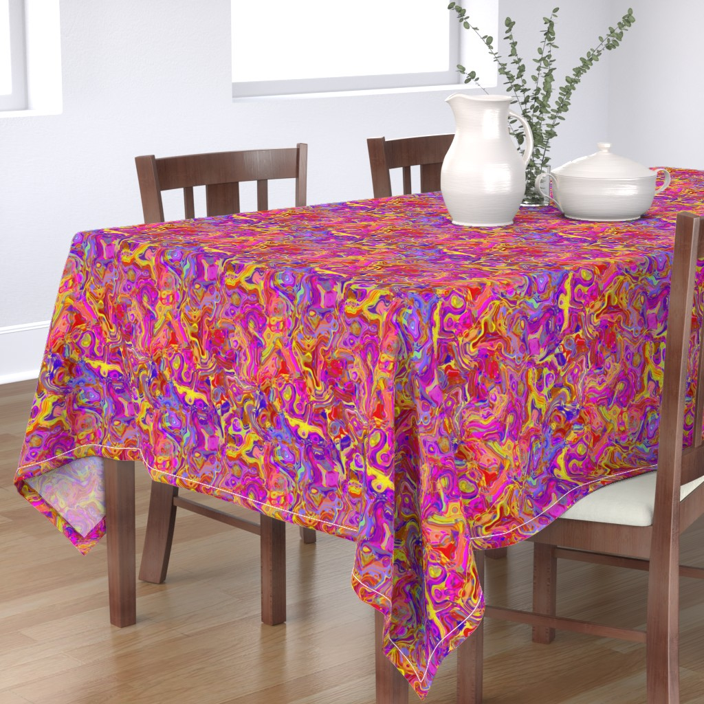 Bantam Rectangular Tablecloth featuring Organic Swirls, Reds and Pinks by palifino