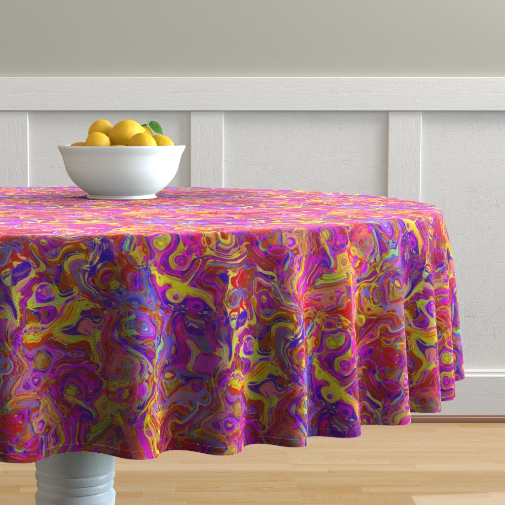Malay Round Tablecloth featuring Organic Swirls, Reds and Pinks by palifino