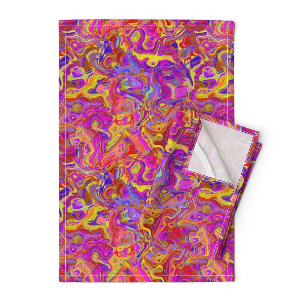 Orpington Tea Towels featuring Organic Swirls, Reds and Pinks by palifino