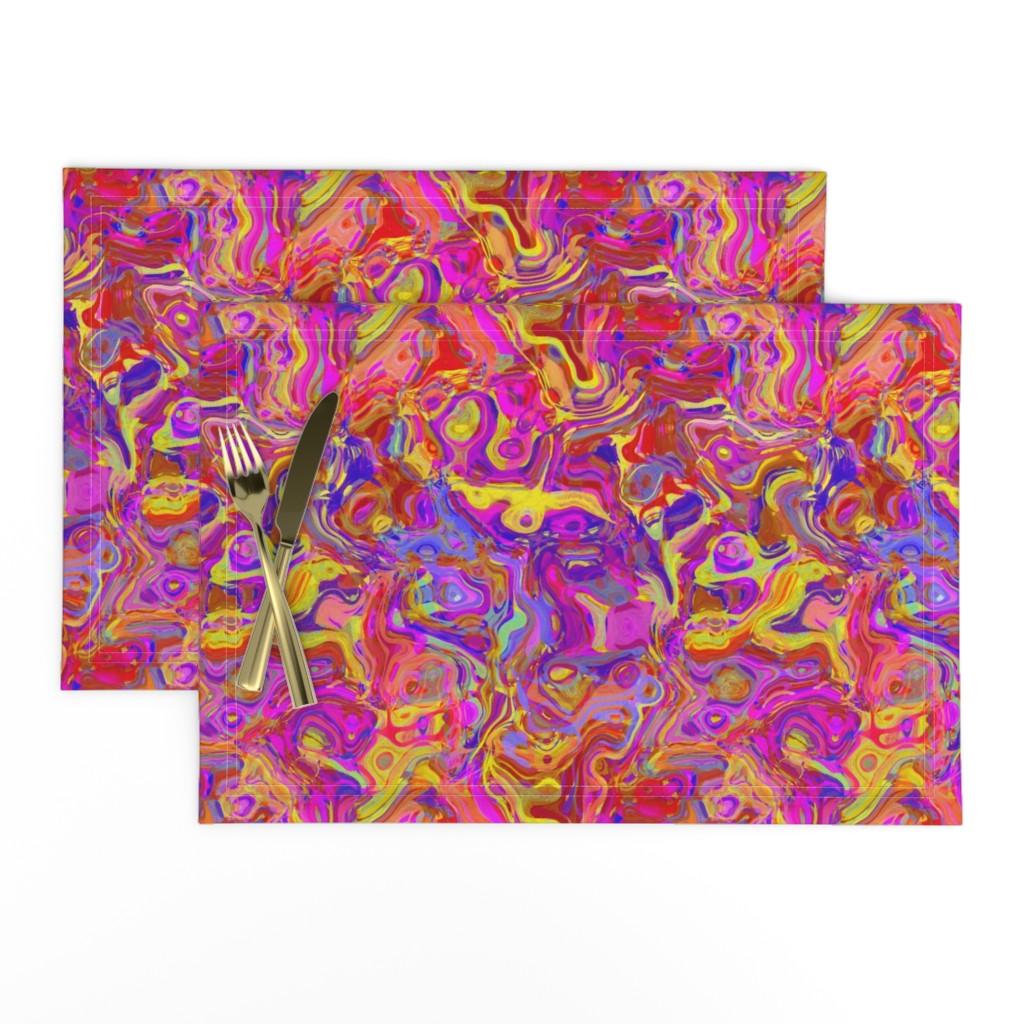 Lamona Cloth Placemats featuring Organic Swirls, Reds and Pinks by palifino