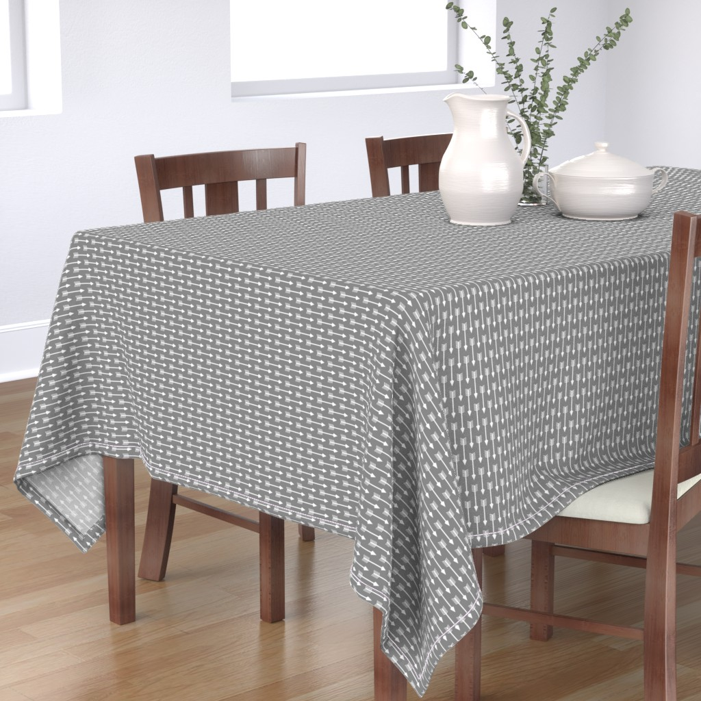 Bantam Rectangular Tablecloth featuring Arrows on Grey - Horizontal by themadcraftduckie