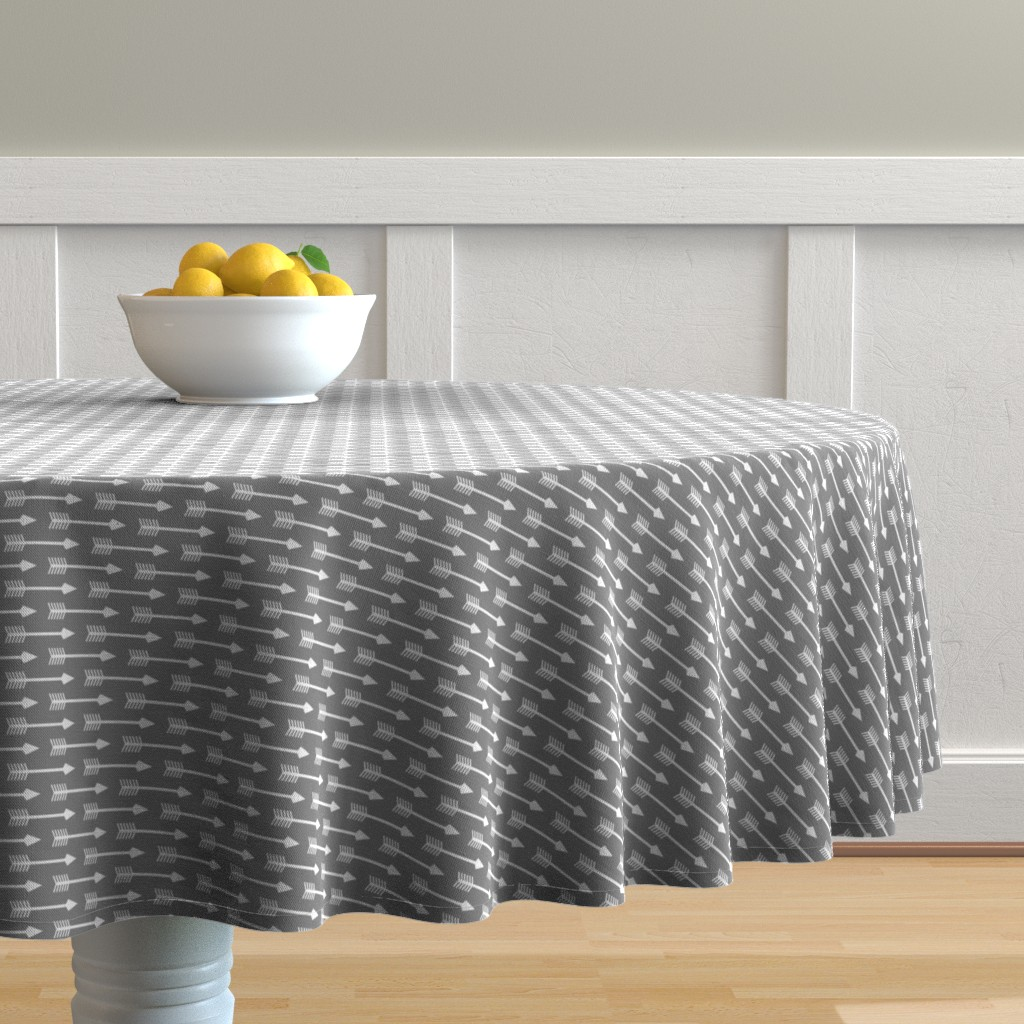 Malay Round Tablecloth featuring Arrows on Grey - Horizontal by themadcraftduckie