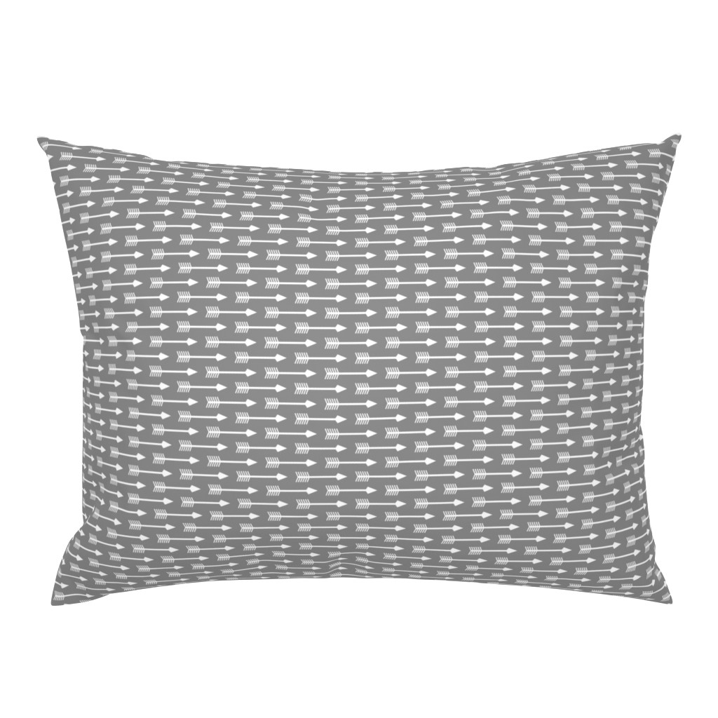 Campine Pillow Sham featuring Arrows on Grey - Horizontal by themadcraftduckie