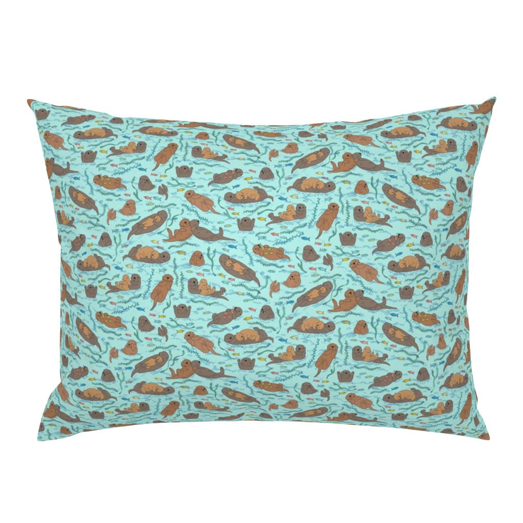 Campine Pillow Sham featuring Sea otters on Aqua Sea foam - Medium-Small scale by cecca